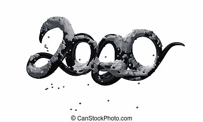 Happy New Year Banner with 2020 Numbers made by black glossy plastic with snow isolated on white Background. abstract 3d illustration creative lettering