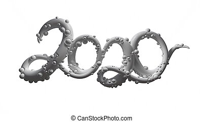 Happy New Year Banner with 2020 Numbers made by sugar white caramel isolated on white Background. abstract 3d illustration creative lettering