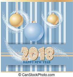 Happy new year banner with clossy balls and sparkle stardust. Magic decor for your selebration. Text 2018.