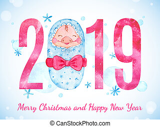 Happy New Year banner with cute newborn Pig and numbers.