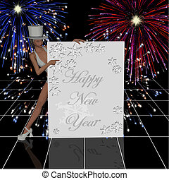 happy new year banner with fireworks and cabaret girl in top...