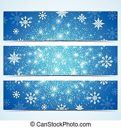 Happy New Year Banners. Blue background with snowflakes. Modern design vector template