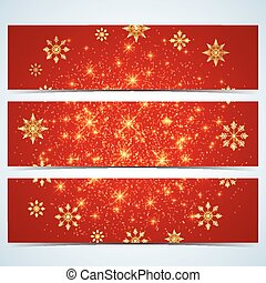 Happy New Year Banners. Red background with golden snowflakes. Modern design vector template