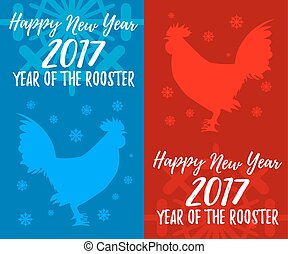 Happy New Year banners. Rooster, symbol of 2017 on the Chinese calendar Vector element for New Year's design greeting cards, posters, flyers. Image of 2017 year of Red Rooster. Vector Illustration.