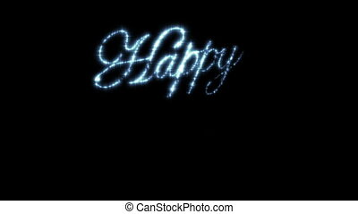 Happy New Year Beautiful Text Animation Isolated on Black Background. Stars in the Sky.