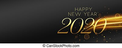 happy new year black and gold beautiful banner design