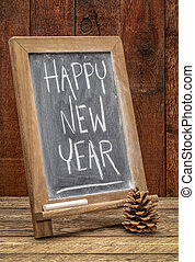 happy new year blackboard sign