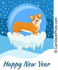 happy new year, blahopřání, od, corgi, plakát