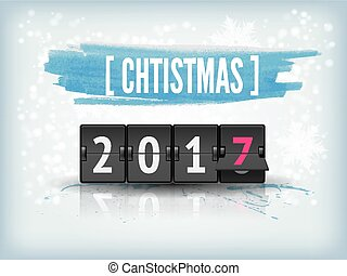 Happy New Year blue background with snowflakes and scoreboard.