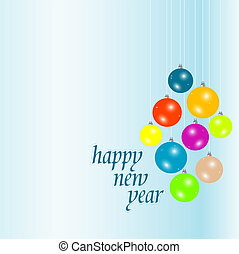 Happy new year blue elegant background with christmas balls