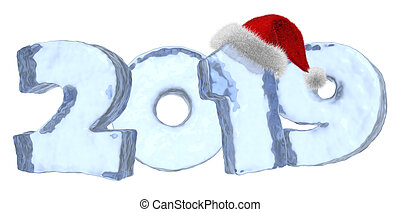 Happy New Year blue ice text 2019 with red hat