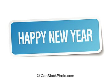 happy new year blue square sticker isolated on white
