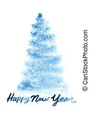 Blue watercolor Christmas tree