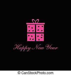 happy new year box vector