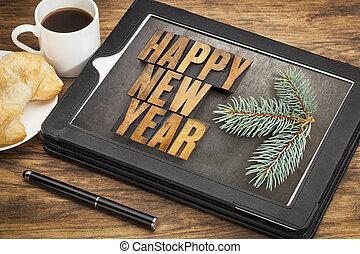 happy new year breakfast - happy new year in letterpress...