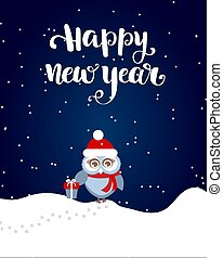 Happy New Year brush lettering text and owl