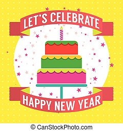 Happy New Year Cake Vector.