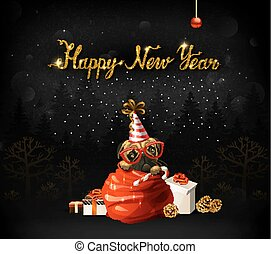 Happy New Year calligraphic gold texture inscription. Cute puppy is climbing out from Santa clauses bag.
