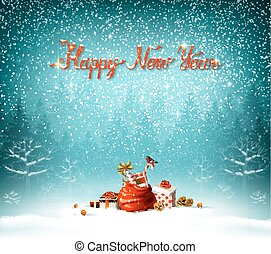 Happy New Year calligraphic red insption. Bue forest on the Holiday background.