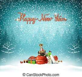 Happy New Year calligraphic red insption. Cute puppy is climbing out from Santa clauses bag.