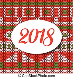 Happy new year card 2018 sweater pattern