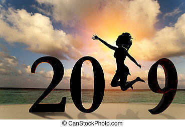Happy new year card 2019. Silhouette young woman jumping on tropical beach over the sea and 2019 number with sunset background.