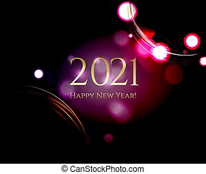Happy New Year Card Black Background
