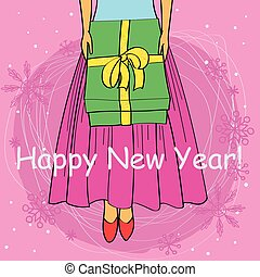 Happy new year card cartoon girl buttom - Happy new year...