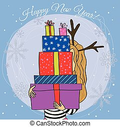 Happy new year card cartoon girl with gift vector