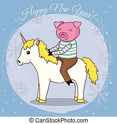Happy new year card cartoon pig on unicorn vector...