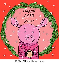 Happy new year card cartoon pig with cocoa in spruce,...