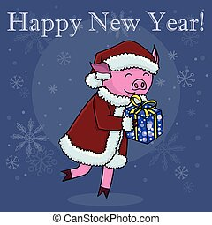 Happy new year card cartoon pig with gift isolated vector...