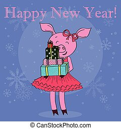 Happy new year card cartoon pig with gifts isolated vector...
