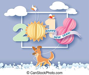 Color paper cut design and craft winter landscape with birds, dog and digit 2018. Holiday New year and Merry Christmas card. Vector illustration