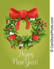 Happy New Year card. Holly pine wreath ribbon