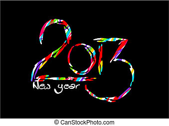 Happy new year card on black background - 2013