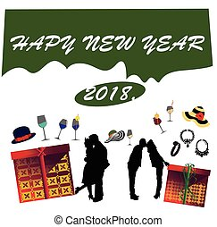 Happy New Year card on white background