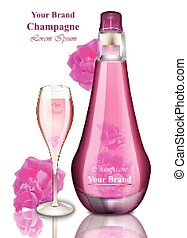 Happy New Year card. Pink Champagne Vector illustrations