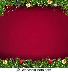 Happy New Year Card Red Background And Christmas Border