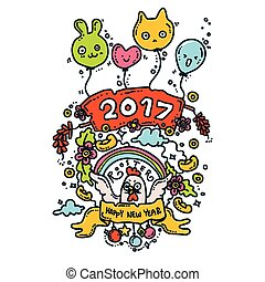 Happy New Year Card. Rooster 2017