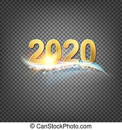 Happy new year card template over transparent background with smoky cloud. Happy new year 2020. Template for your design.