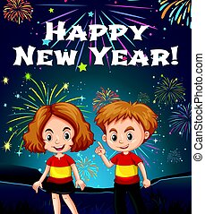 Happy New Year card template with kids and fireworks