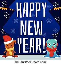 Happy new year card with cartoon baby monsters - cute poster