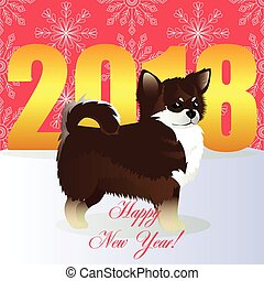Happy new year card with Chihuahua
