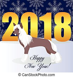 Happy new year card with Chinese crested dog