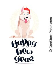 Happy New Year Card With Cute Husky Dog In Santa Hat