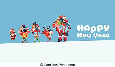 Happy New Year Card With Elves, Reindeer And Santa Carrying Gift Boxes Stack Christmas Holiday Presents Concept