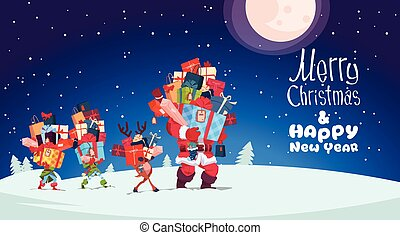 Happy New Year Card With Elves, Reindeer And Santa Carrying Gift Boxes Stacks Over Winter Night Christmas Holiday Presents Concept
