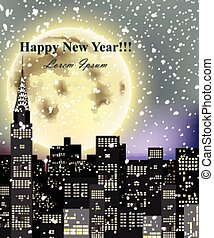 Happy New Year card with full moon over city skyscrapers. Vector snowy night illustrations