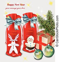 Happy New Year card with gifts and baubles Vector illustrations